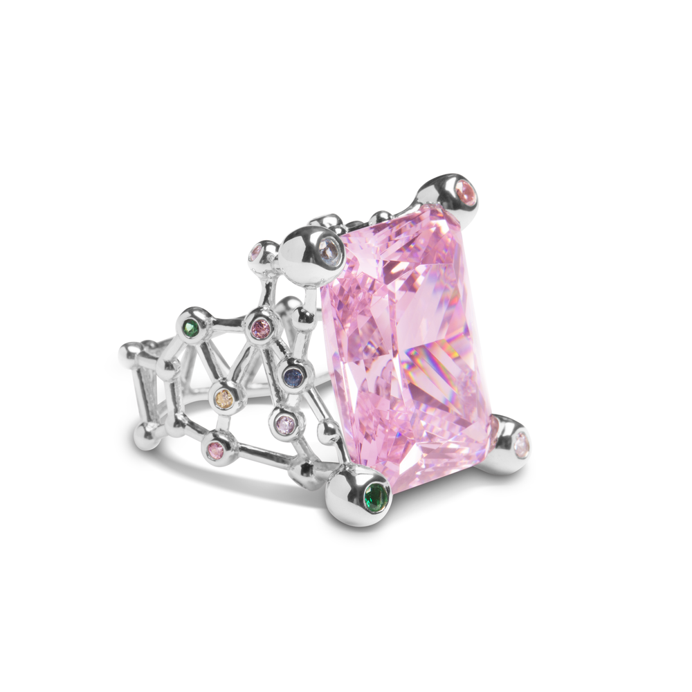 Ring With Pink Zircon & 5A Cubic Zirconia In Sterling Silver