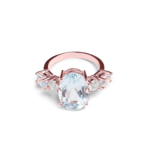 Blue Aquamarine, Sterling Silver 18K Rose Gold Plated Ring