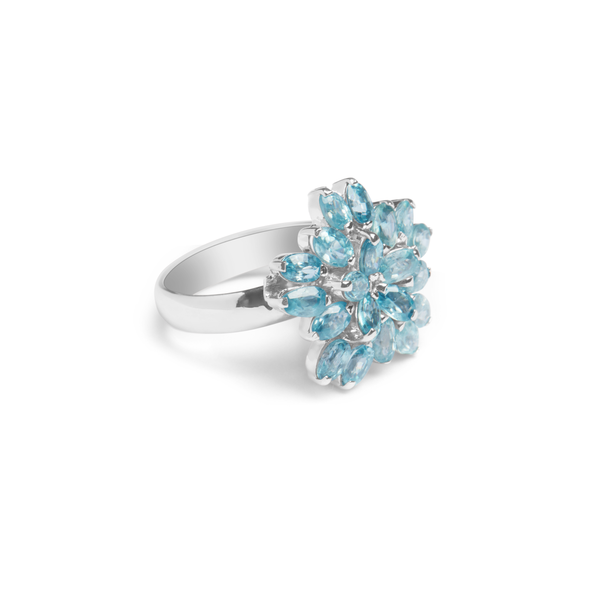 Blue Aquamarine, Sterling Silver Rhodium Plated Ring