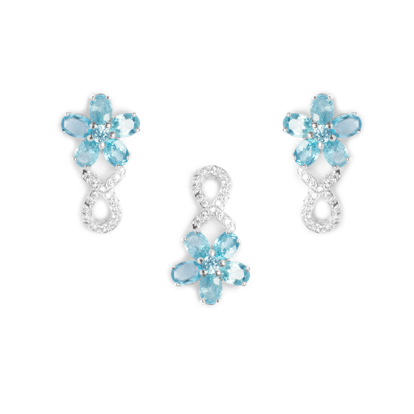 Blue Aquamarine, Sterling Silver Rhodium Plated Earrings