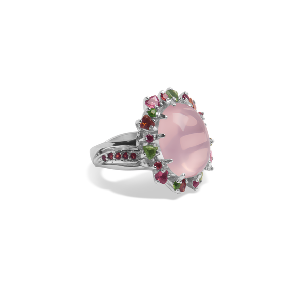 Ring With Pink Rose Quartz & 5A Cubic Zirconia In Sterling Silver