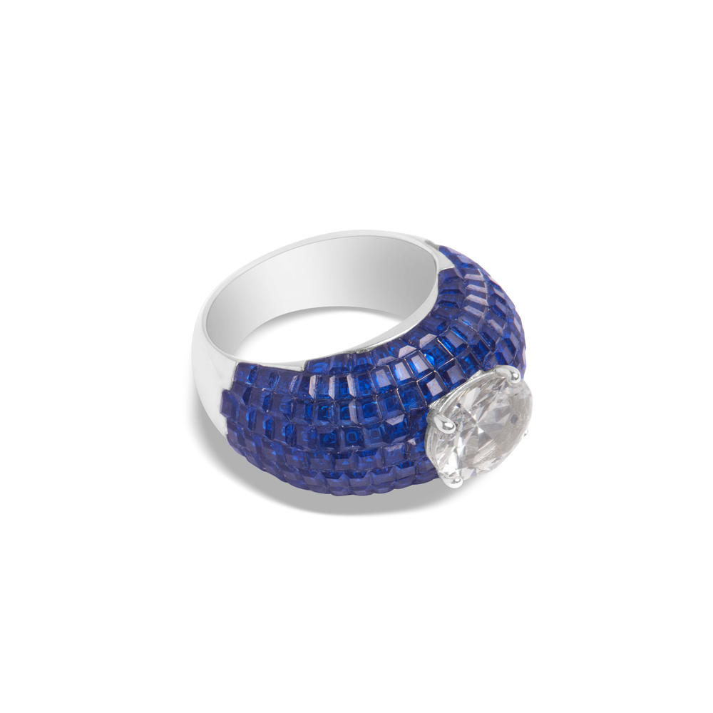 Blue Sapphire, Sterling Silver Rhodium Plated Ring