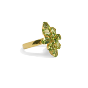 Green Peridot, Sterling Silver 18K Yellow Gold Plated Ring