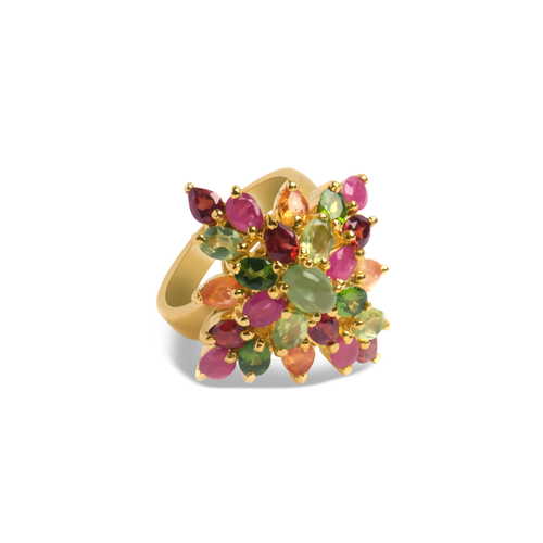 Green Peridot & Ruby, Sterling Silver 18K Yellow Gold Plated Ring