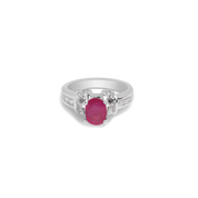 Ring With Red Ruby & 5A Cubic Zirconia In Sterling Silver