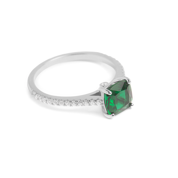 Green Emerald, Sterling Silver Rhodium Plated Ring