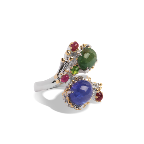 Green Emerald & Blue Sapphire, Sterling Silver Rhodium Plated Ring