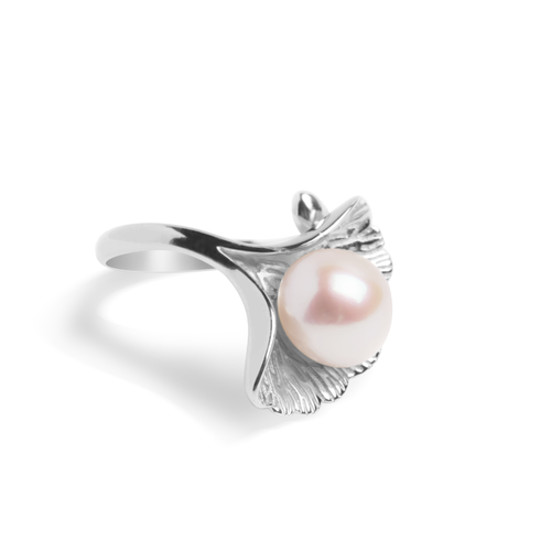 Ring With White Pearl & 5A Cubic Zirconia In Sterling Silver