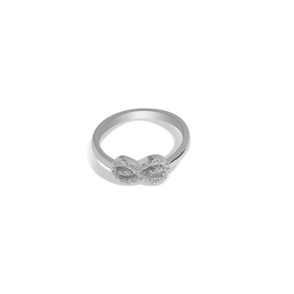 Ring With White Zircon & 5A Cubic Zirconia In Sterling Silver