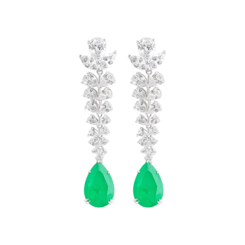 Earring With Green Emerald & 5A Cubic Zirconia In Sterling Silver