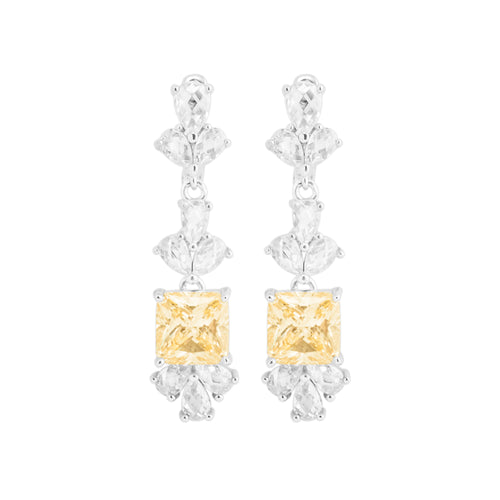 Earring With Yellow Topaz & 5A Cubic Zirconia In Sterling Silver