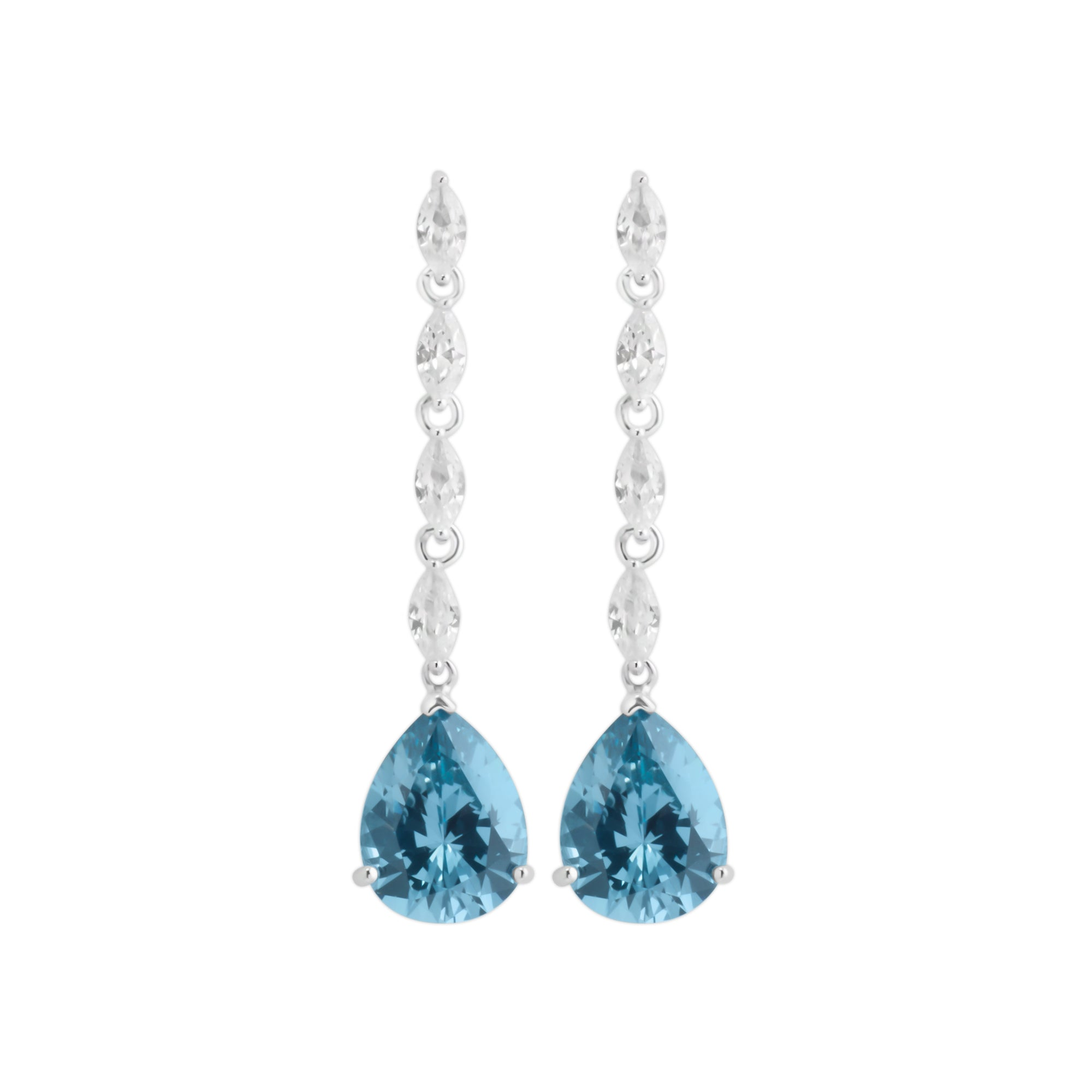 Earring With Blue Zircon & 5A Cubic Zirconia In Sterling Silver
