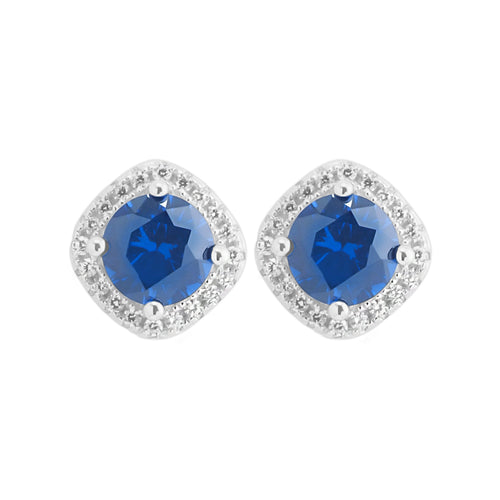 Earring With Blue Sapphire & 5A Cubic Zirconia In Sterling Silver