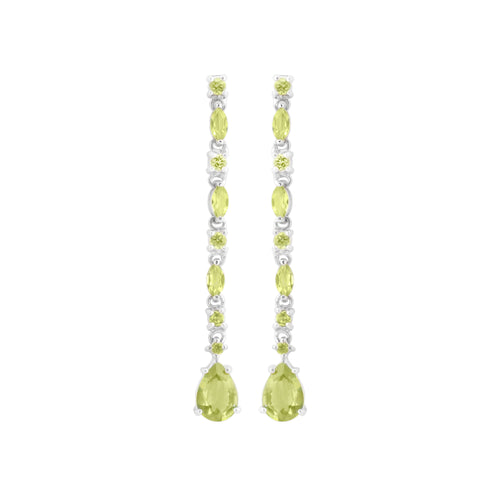Earring With Green Peridot & 5A Cubic Zirconia In Sterling Silver