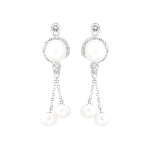 Earring With White Pearl & 5A Cubic Zirconia In Sterling Silver