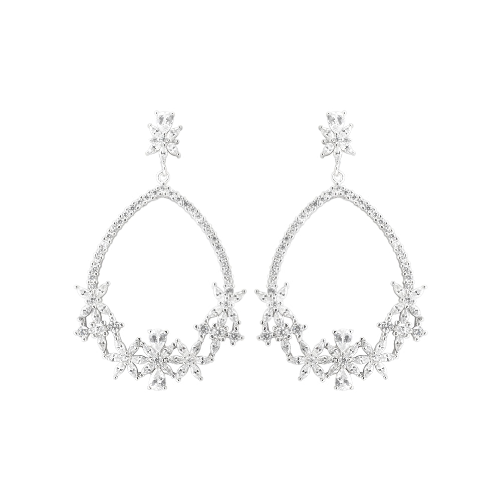 Earring With White Zircon & 5A Cubic Zirconia In Sterling Silver