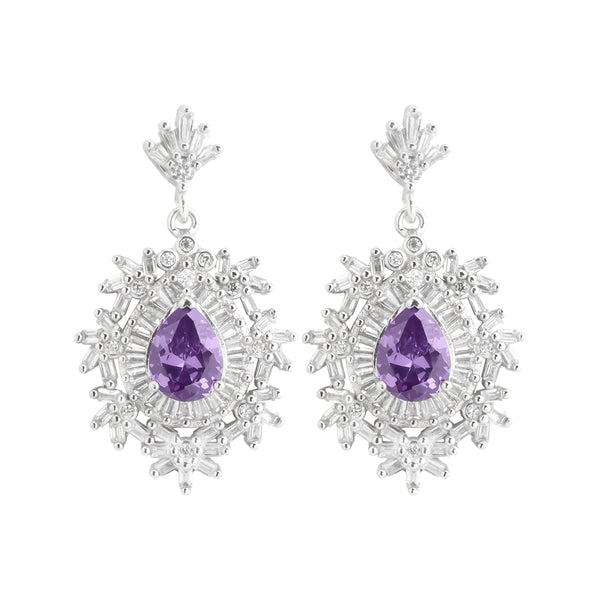 Earring With Purple Amethyst & 5A Cubic Zirconia In Sterling Silver