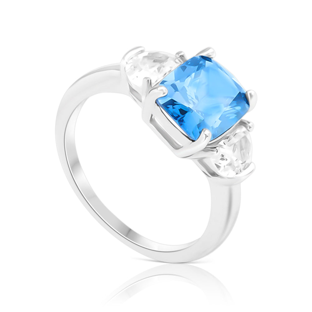 Ring With Blue Zircon & 5A Cubic Zirconia In Sterling Silver