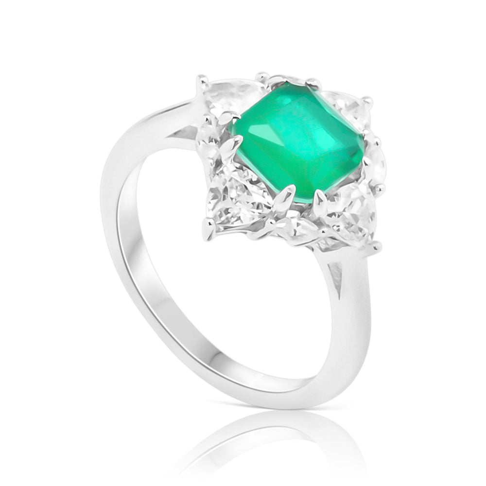 Ring With Green Emerald & 5A Cubic Zirconia In Sterling Silver