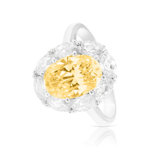 Ring With Yellow Topaz & 5A Cubic Zirconia In Sterling Silver