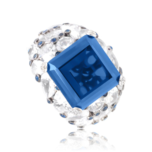 Ring With Blue Sapphire & 5A Cubic Zirconia In Sterling Silver