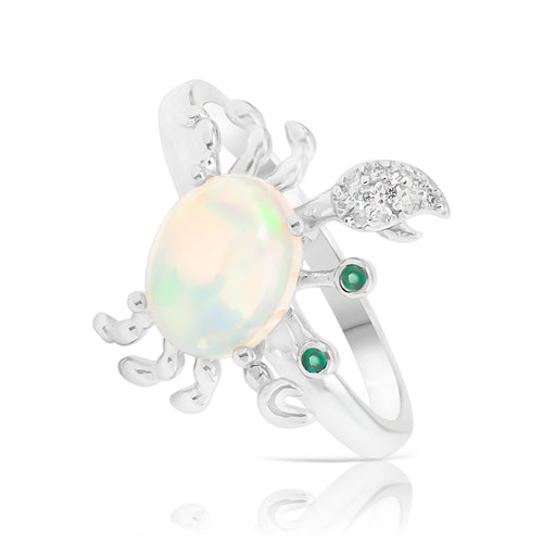 Ring With White Opal & 5A Cubic Zirconia In Sterling Silver