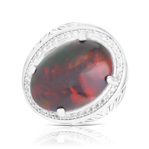 Ring With Red Opal & 5A Cubic Zirconia In Sterling Silver