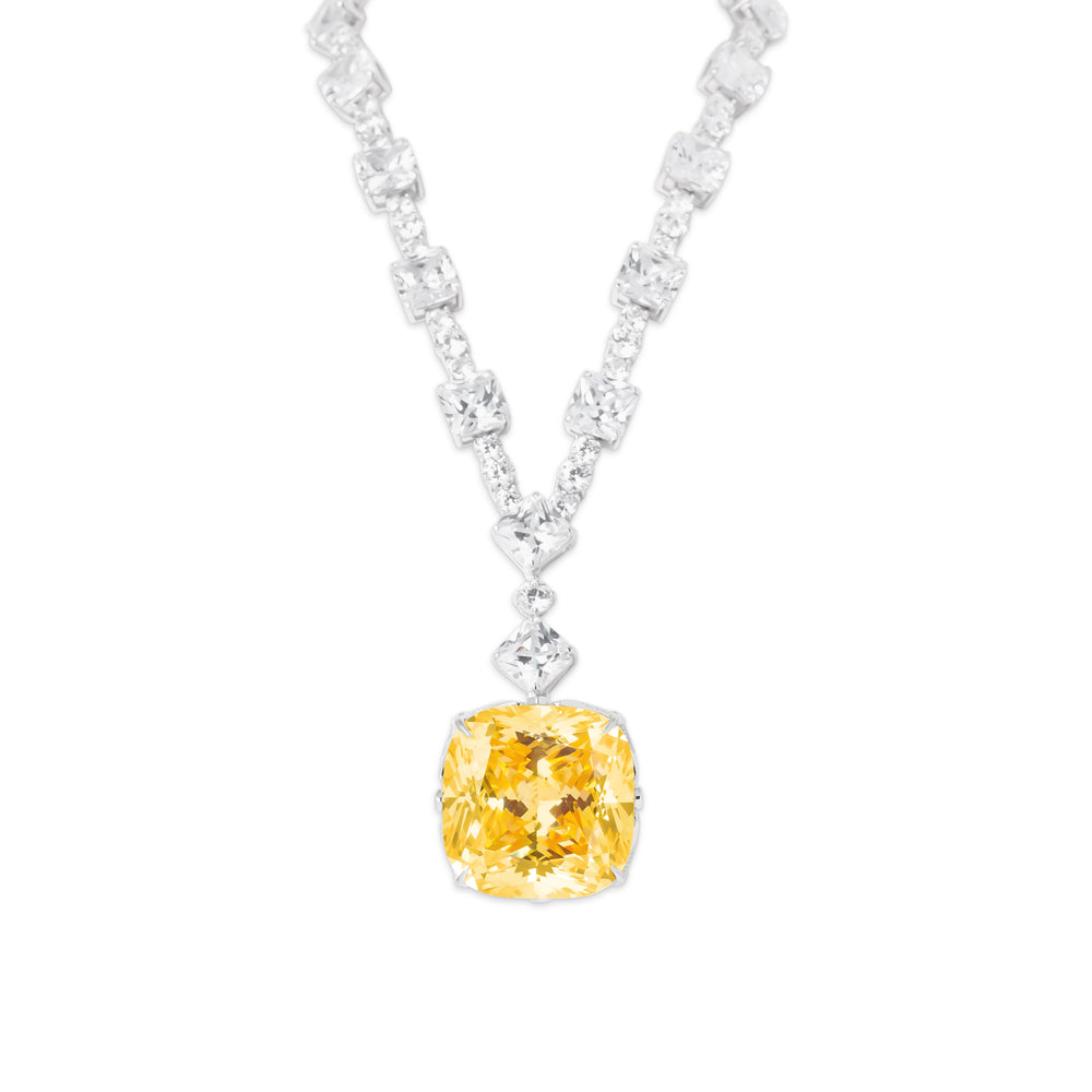 Necklace With Yellow Topaz & 5A Cubic Zirconia In Sterling Silver