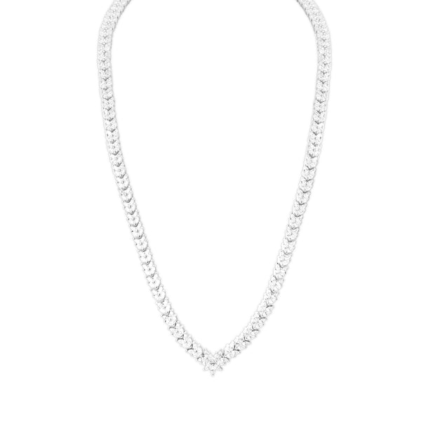 Necklace With White Zircon & 5A Cubic Zirconia In Sterling Silver