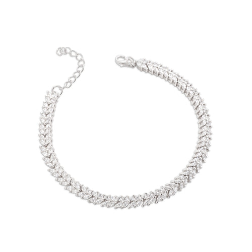Bracelet With 5A Cubic Zirconia In Sterling Silver