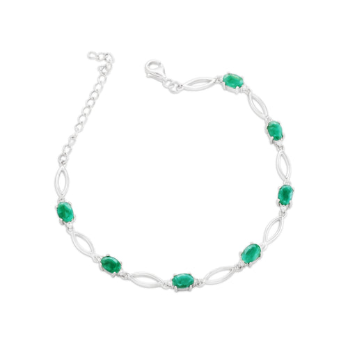 Bracelet With Green Emerald & 5A Cubic Zirconia In Sterling Silver