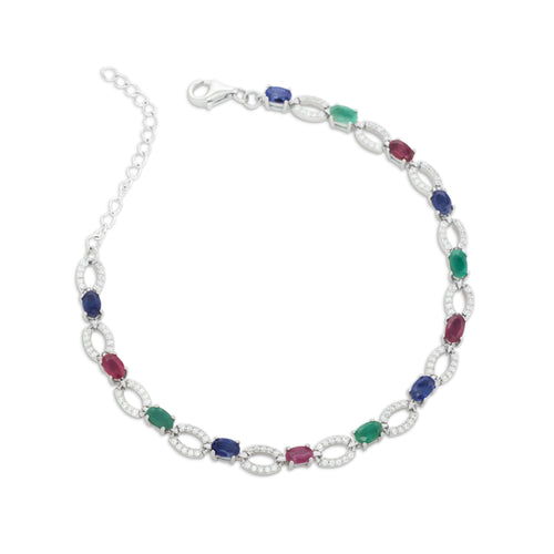 Bracelet With Red Ruby, Green Emerald, Blue Sapphire & 5A Cubic Zirconia In Sterling Silver