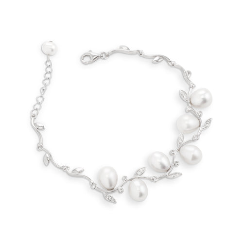 Bracelet With White Pearl & 5A Cubic Zirconia In Sterling Silver