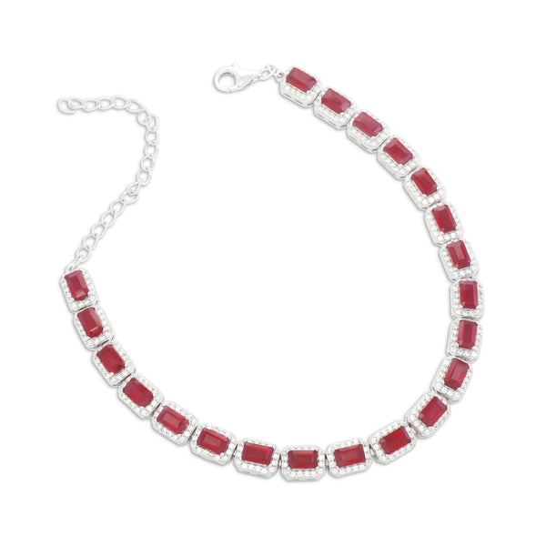 Bracelet With Red Ruby & 5A Cubic Zirconia In Sterling Silver