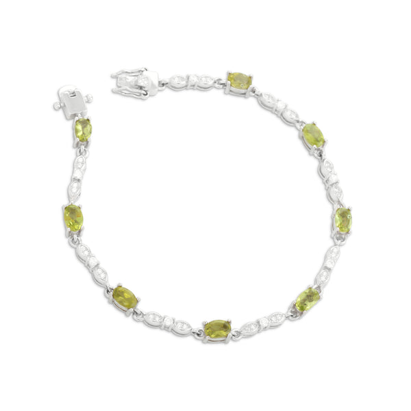 Bracelet With Green Peridot & 5A Cubic Zirconia In Sterling Silver