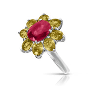 Ring with Red Ruby and Yellow Topaz in Sterling Silver