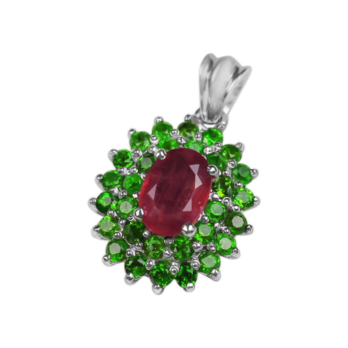 Pendant With Peridot & Red Ruby In Sterling Silver