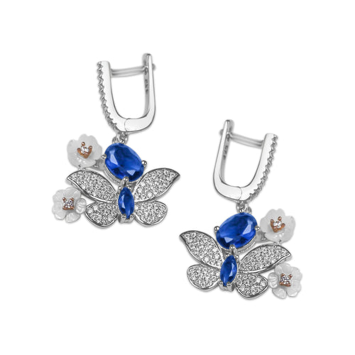 Earrings With Blue Sapphire & 5A Cubic Zirconia in Sterling Silver