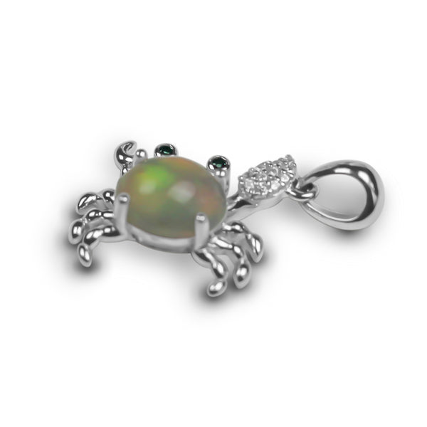 Pendant With White Opal & 5A Cubic Zirconia In Sterling Silver