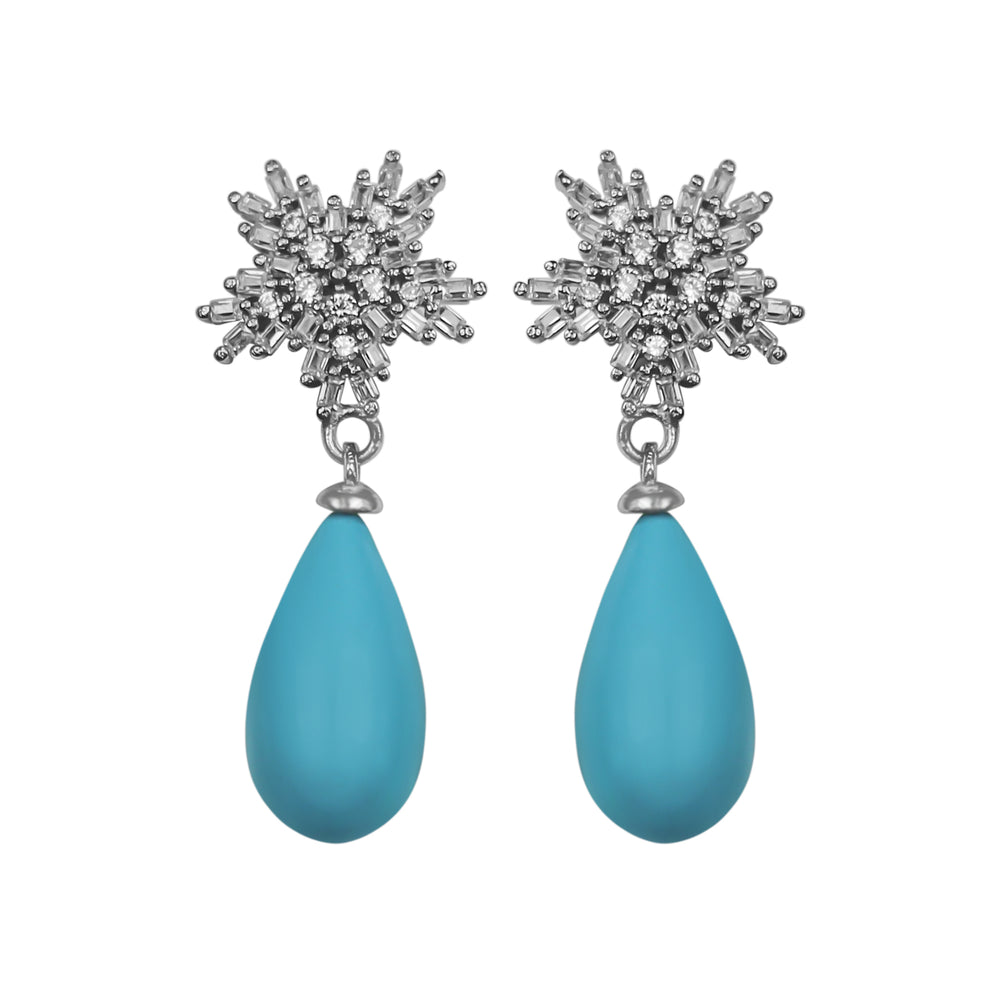 Earrings With Turquoise & 5A Cubic Zirconia in Sterling Silver