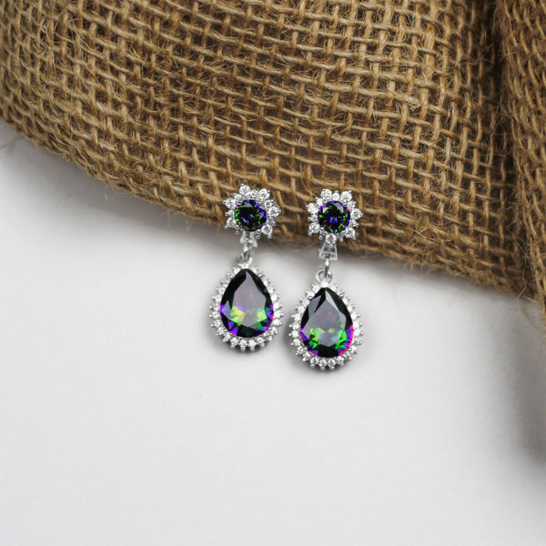 Earrings With Mystic Topaz & 5A Cubic Zirconia In Sterling Silver
