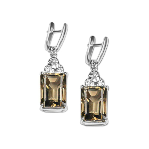 Earrings With Smoky Topaz & 5A Cubic Zirconia In Sterling Silver
