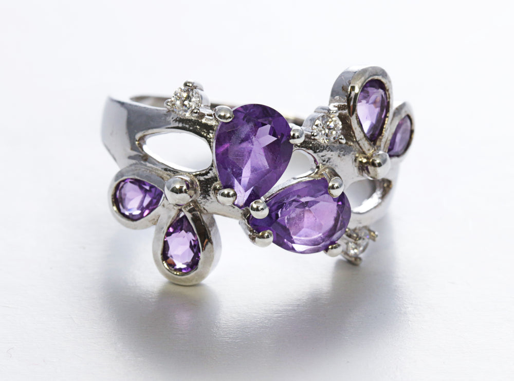 Pear-Cut Multi Stone Amethyst Ring