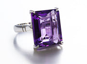 Prong-Set Rectangular Amethyst Ring