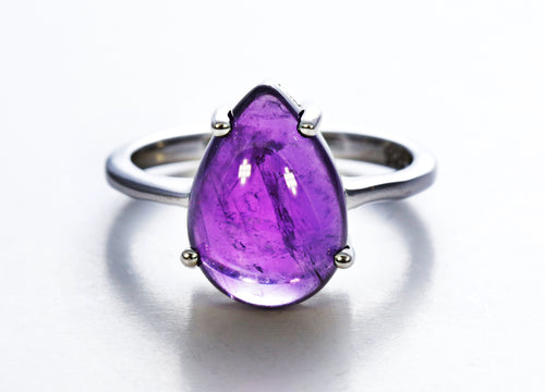 Pear Amethyst Solitaire Ring