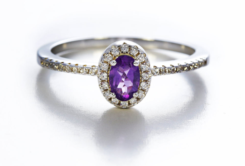 Framed Oval Cut Amethyst Ring with Accents
