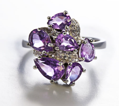 Pear Cluster Amethyst Ring