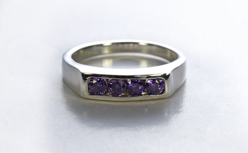Tapered Channel Set Amethyst Ring