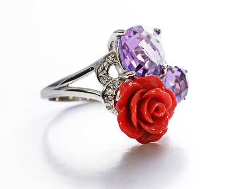 Amethyst Ring with Red Rose Accent