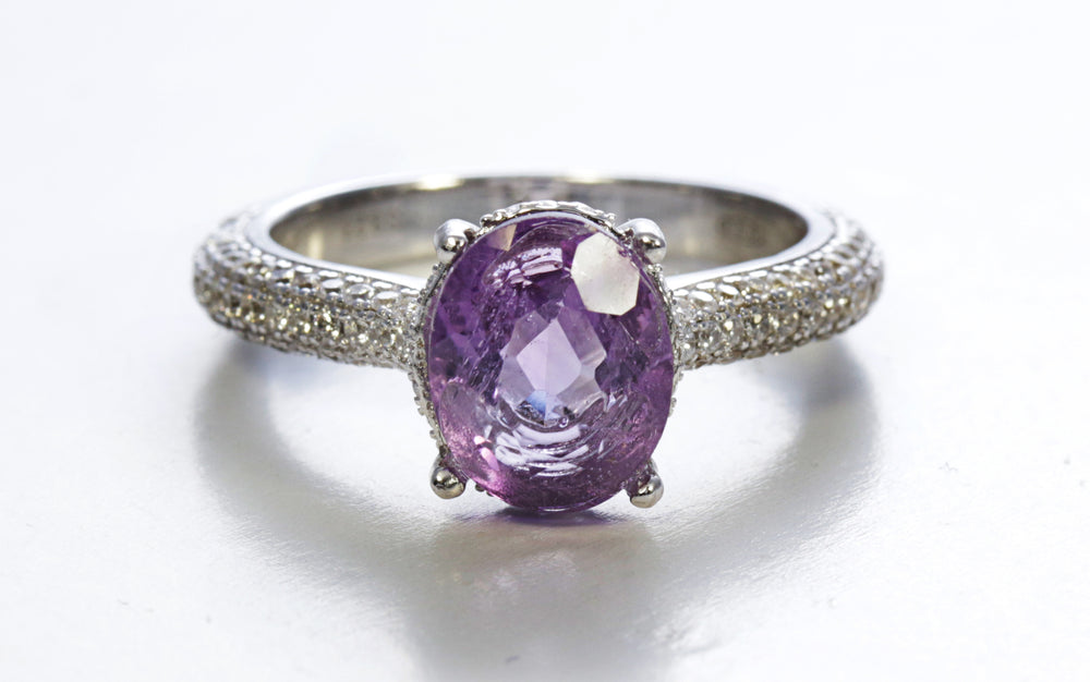 Oval Amethyst with Cubic Zirconia Micro Pave Ring